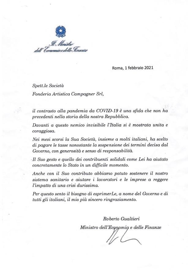 lettera ministro economia